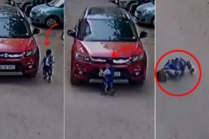 फोनमा कुरा गर्दागर्दै आफ्नै बच्चामाथि यसरी चलाए गाडी (भिडियो सहित)
